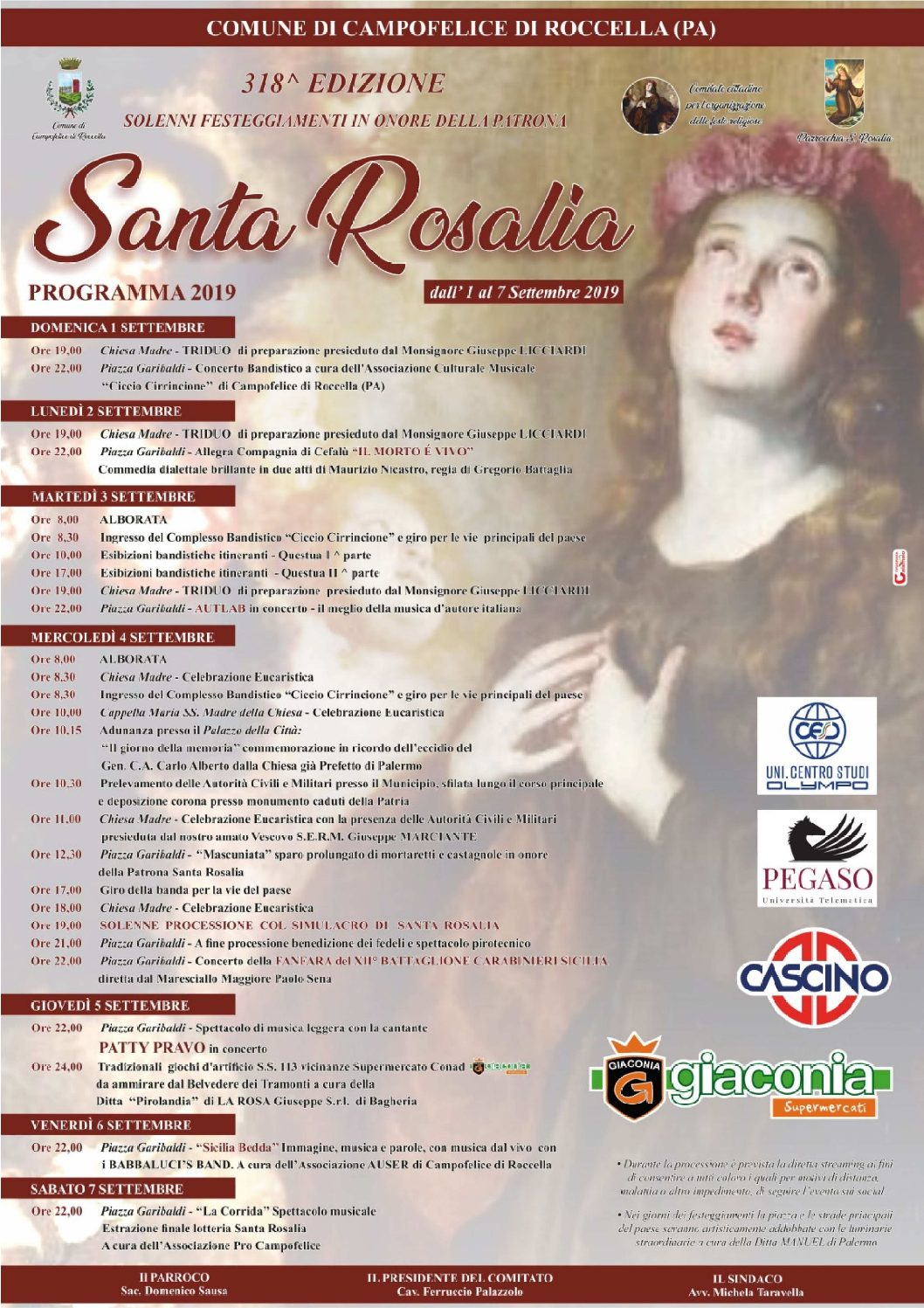 Santa Rosalia 2019 Programma
